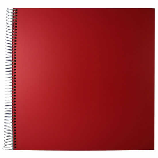 Album photo traditionnel à spirales 30 pages rouge