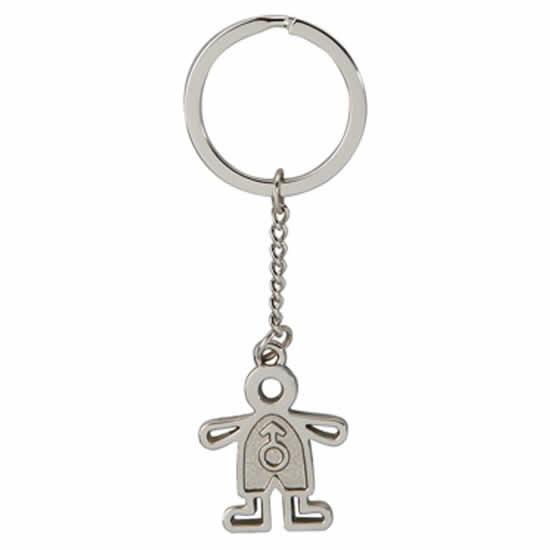 Porte clés en métal chromé Charm garçon