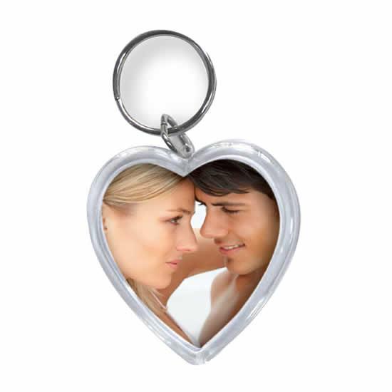 Porte clés photo cœur personnalisable