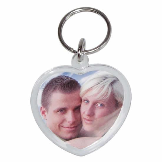 Porte clés photo en forme de cœur