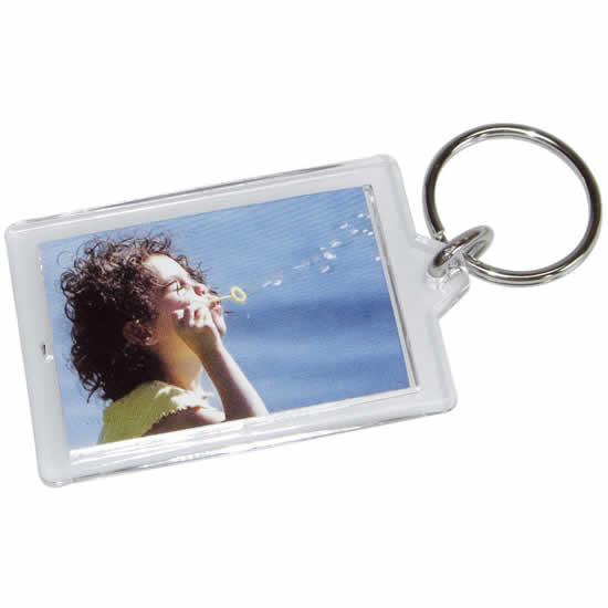 Porte clés photo en forme rectangulaire