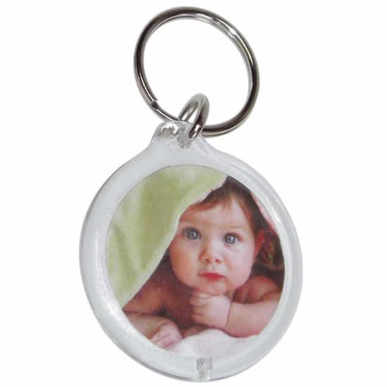 Porte clés photo en forme ronde
