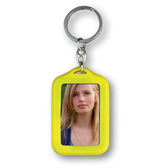 Porte clés photo rectangle personnalisable jaune