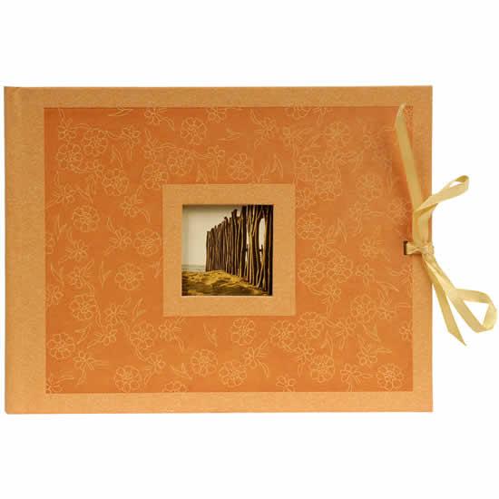 Album photo orange fleurs 40 photos / pages beiges