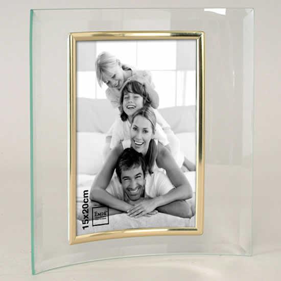Cadre photo 15X20 cm en verre galbé doré