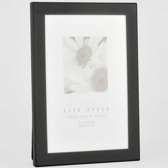 Cadre photo alu brossé noir 10x15 Emdé