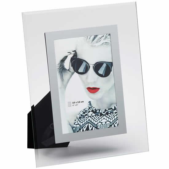 Cadre photo en verre 10x15 Manu bordure argent