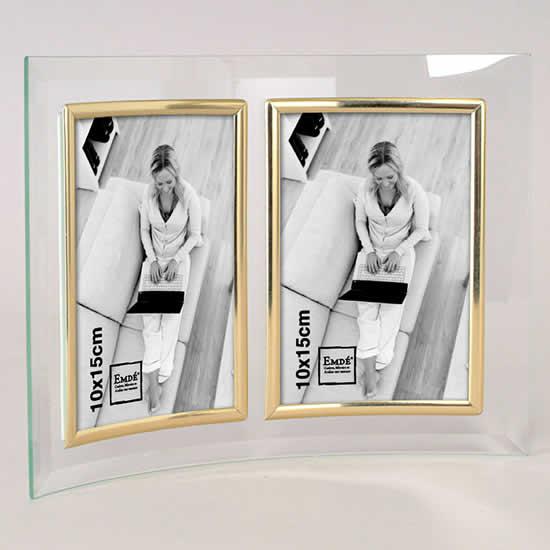 Cadre photo en verre galbé deux photos 10x15 doré
