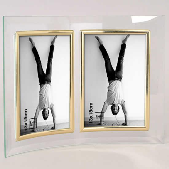 Cadre photo en verre galbé deux photos 13x18 doré