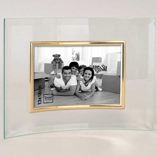 Cadre photo en verre galbé pour photo 13x18 doré