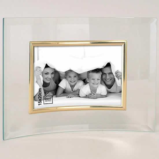 Cadre photo en verre galbé pour photo 15X20 doré
