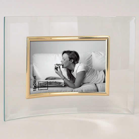 Cadre photo en verre galbé pour photo 18X24 doré