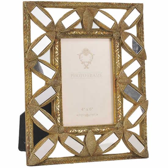 Cadre photo vénitien doré 10x15 miroirs