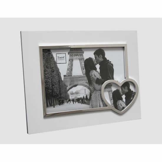 Cadre photos 13x18 Coeur blanc et argent
