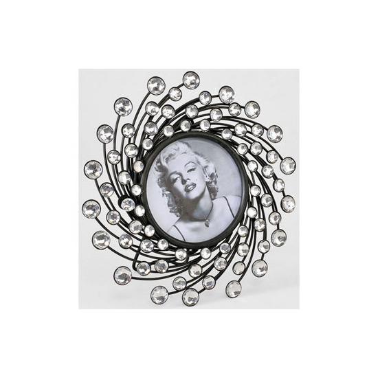 Cadre rond en métal décorés de perles