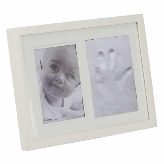 Cadre naissance empreinte main bébé 13x18 blanc