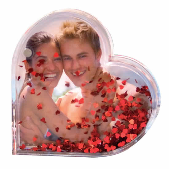 Porte photo translucide cœur à paillettes rouges