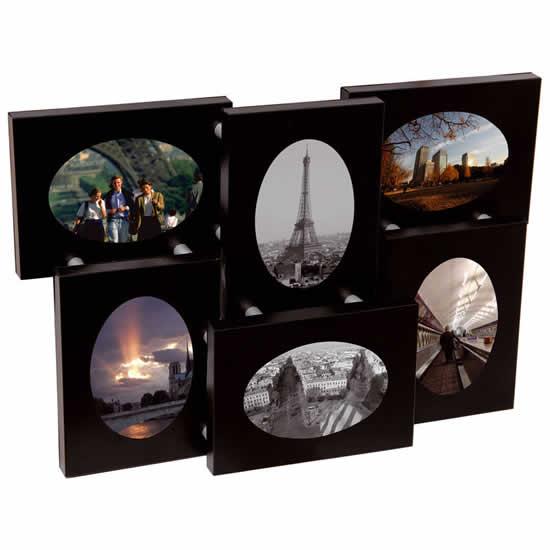 Cadre 6 photos ovale 6x9 aluminium noir