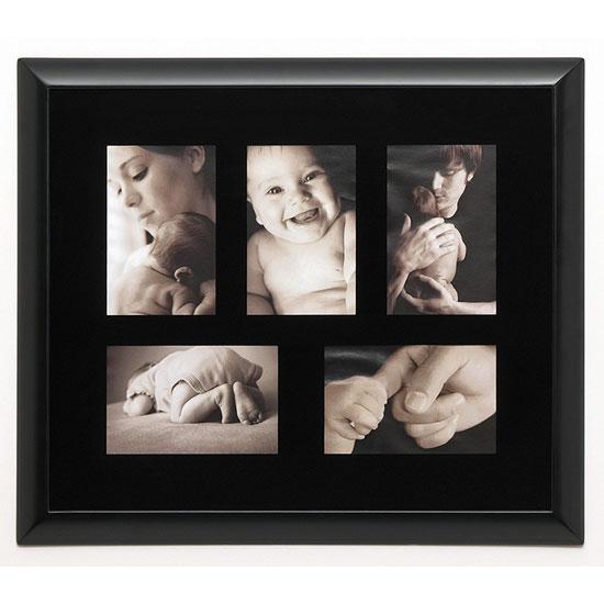 Cadre en bois noir 5 photos 10x15cm