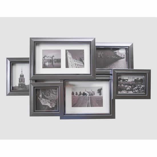 Cadre moderne multicadres argent brillant 7 photos emd - Cadre photo 60x80 ...