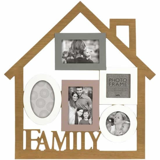 Cadre multivues Family 5 photos effet bois