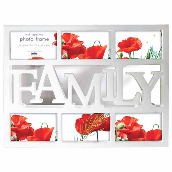 Cadre multivues Family 6 photos blanc 10x15cm