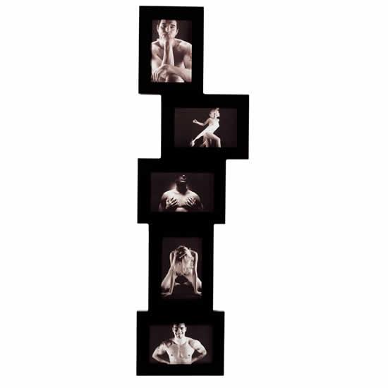 Cadre multivues laqué noir 5 photos 10x15cm