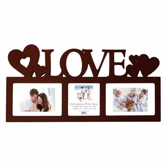 Cadre multivues Love 3 photos chocolat 10x15cm
