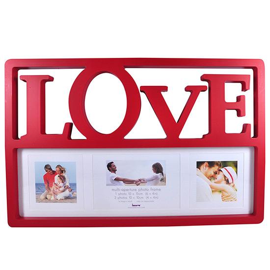 Cadre multivues Love rouge 3 photos