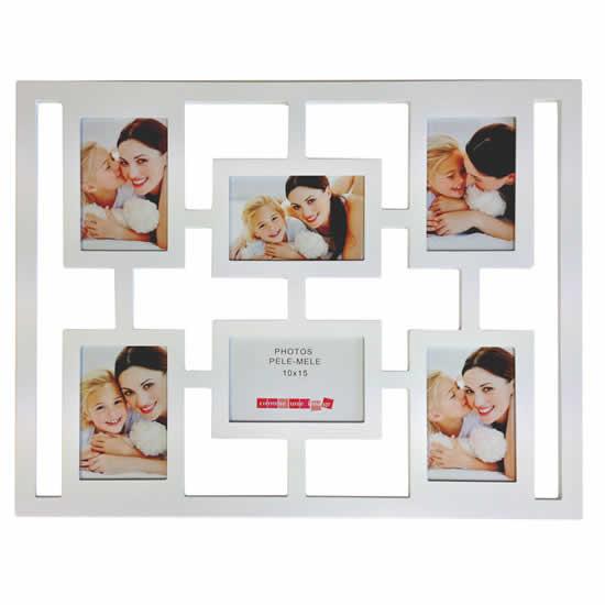Cadre multivues photo blanc 6 photos 10x15cm deco