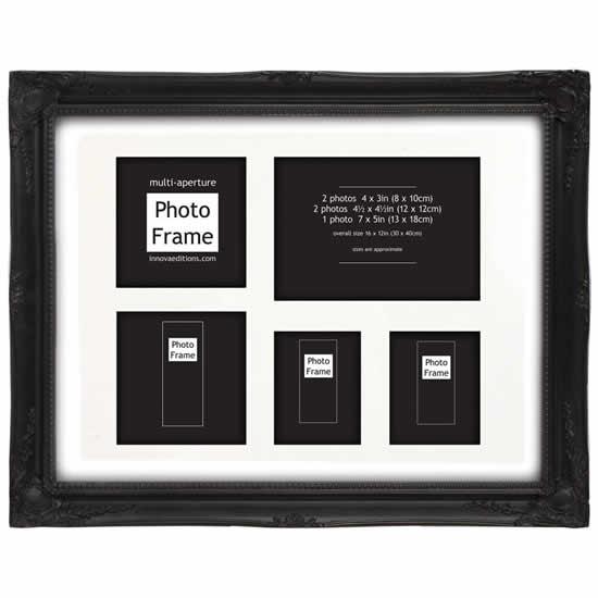 Cadre multivues style baroque noir photo 30x40 cm