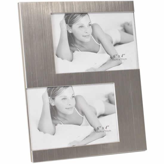 Cadre photo aluminium gris 2 vues 10x15 Emdé