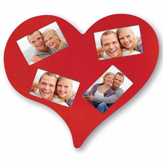 Cadre photo cœur en bois 4 vues 10x15