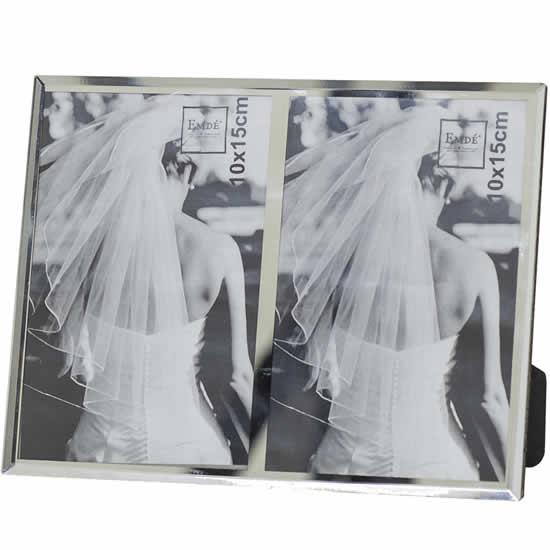 Cadre photo double bord miroir 10x15