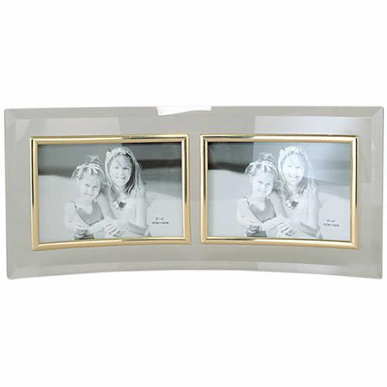 Cadre photo en verre galbé deux photos 15x10