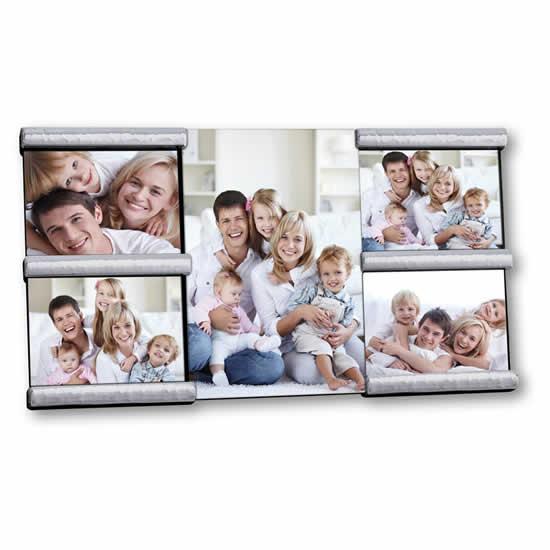 Cadre photo verre & métal 5 vues 15x20 & 9x13