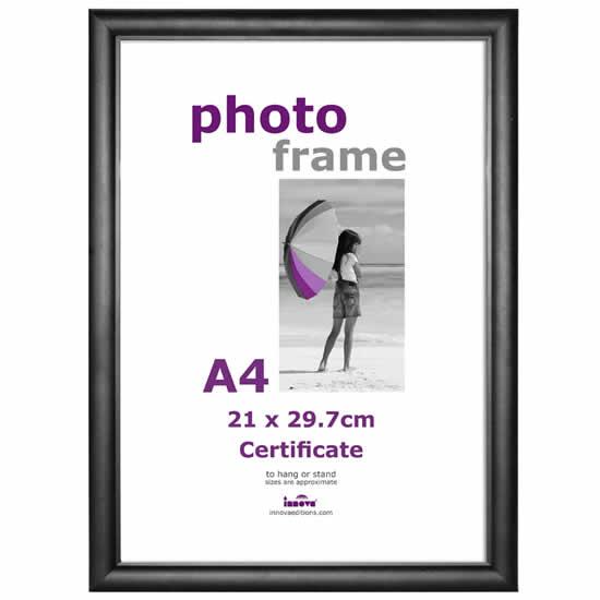 Cadre photo A4 Certificat noir plexiglass