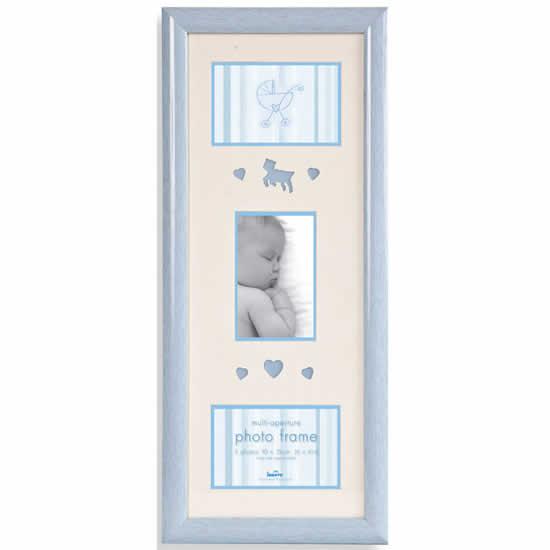 Cadre photo bois bleu 3 photos 10x15  bébé garçon