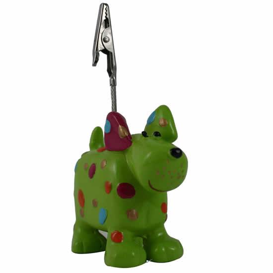 Porte-photo chien vert oreille rose