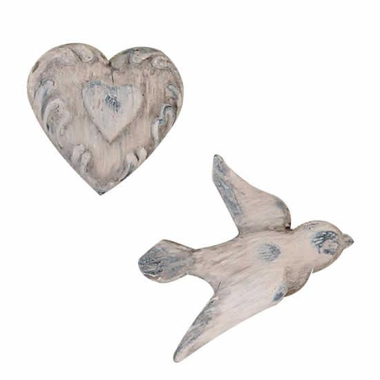 Aimants oiseau et cœur blanc patiné