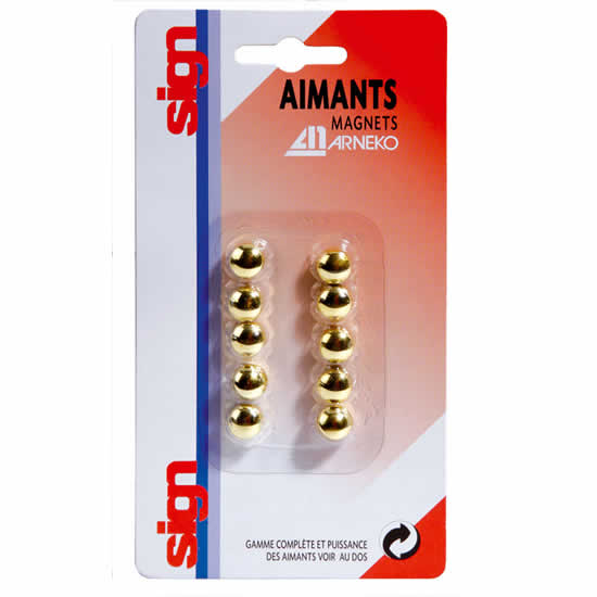 Boite 10 aimants 9mm Or