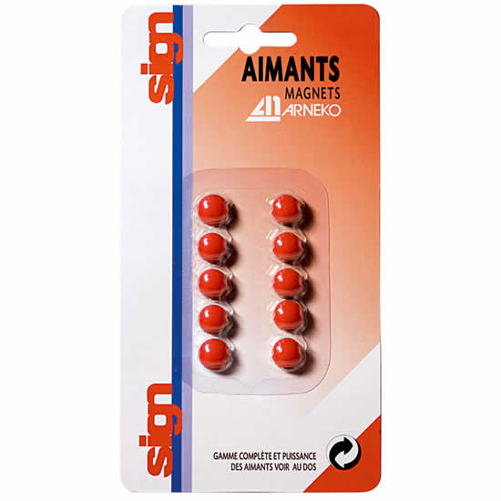 Boite 10 aimants 9mm Rouge