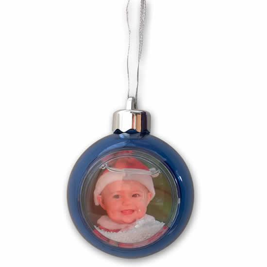 Boule bleu translucide pour sapin photo 5x5cm