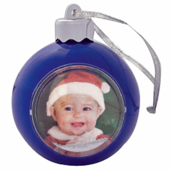 Boule bleue pour sapin de Noël pour photo 5x5cm