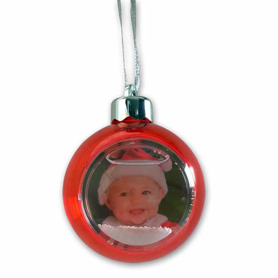 Boule rouge translucide pour sapin photo 5x5cm
