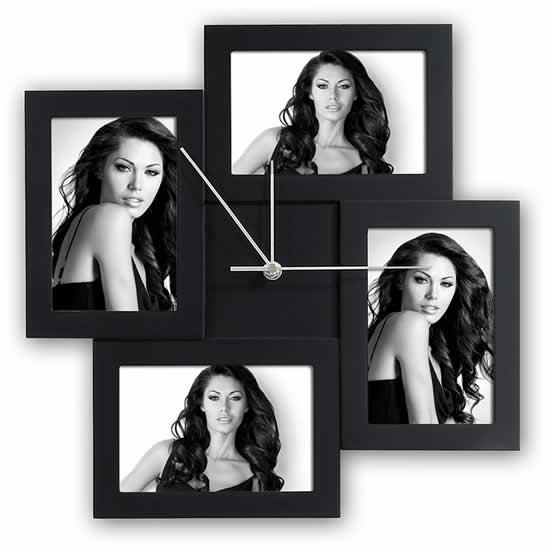 Horloge cadre multivues noir 4 photos 10x15