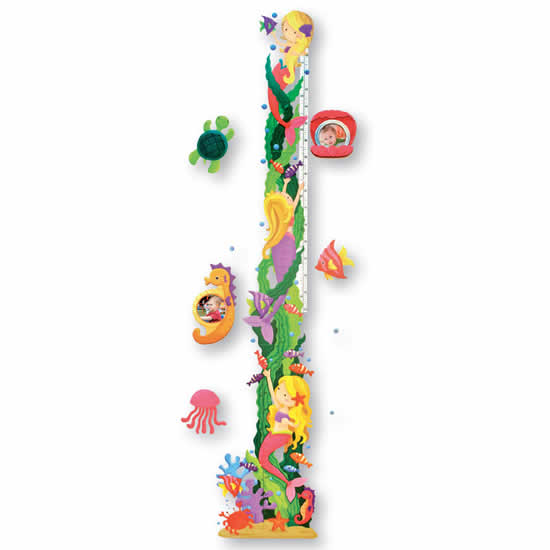Toise enfant sticker mural sirène et poissons