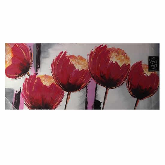 Toile peinte floral 50x120 rouge
