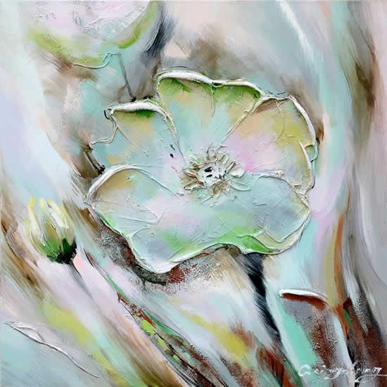 Toile peinte floral 60x60 vert