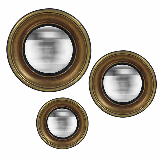 Lot de 3 miroirs ronds bords doré Convex Emdé